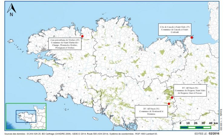 Projet Chemins - Carte des sites test
