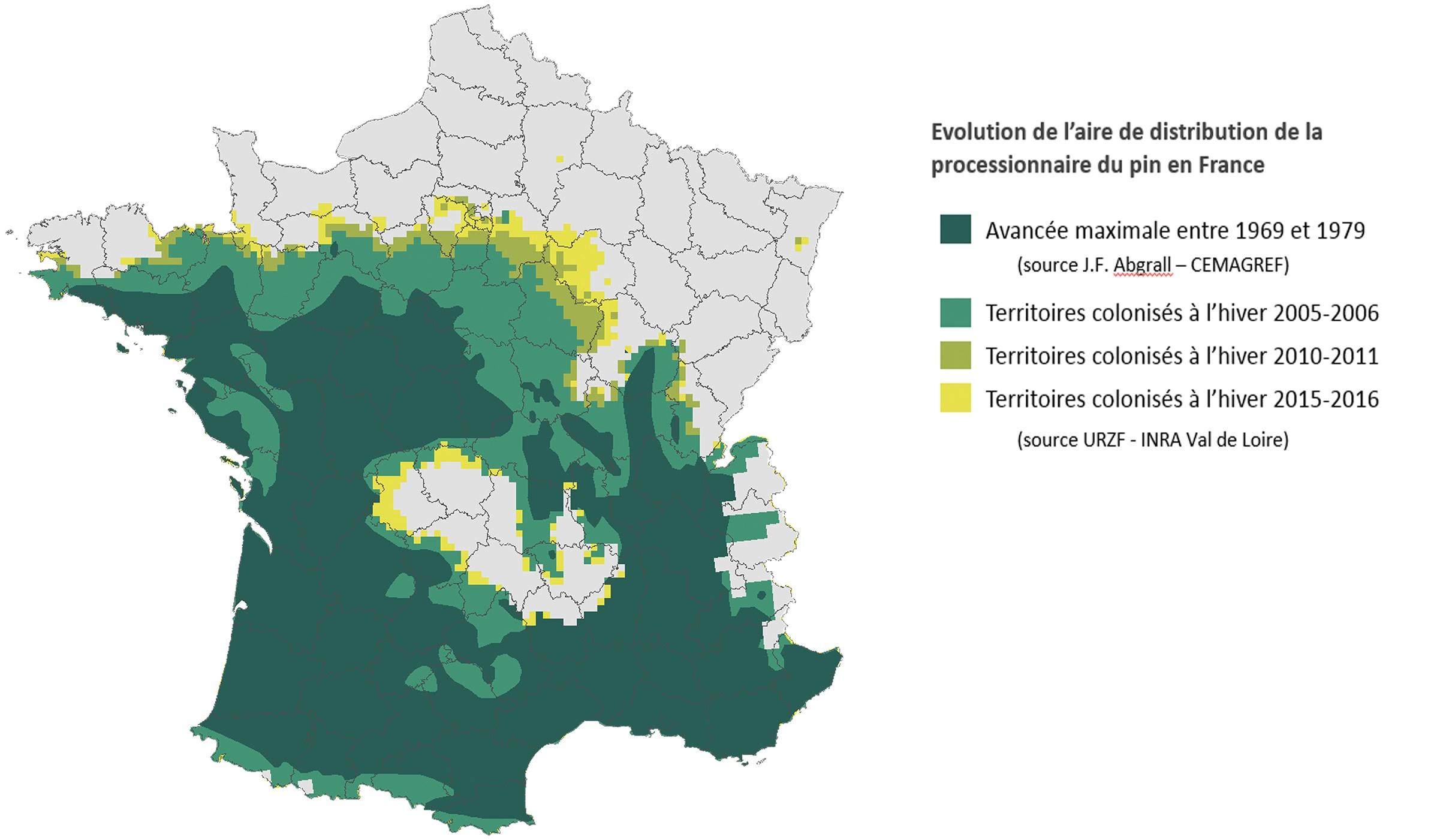 Carte progression de la processionnaire en France