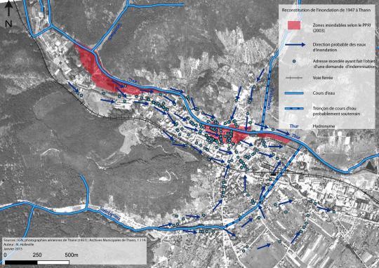 Reconstitution sur une carte de l'innondation de 1947 à Thann