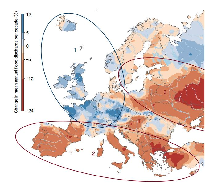 Carte européenne montrant les différents régime de crues