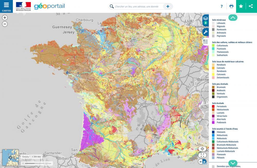 Carte des sols en France métropolitaine