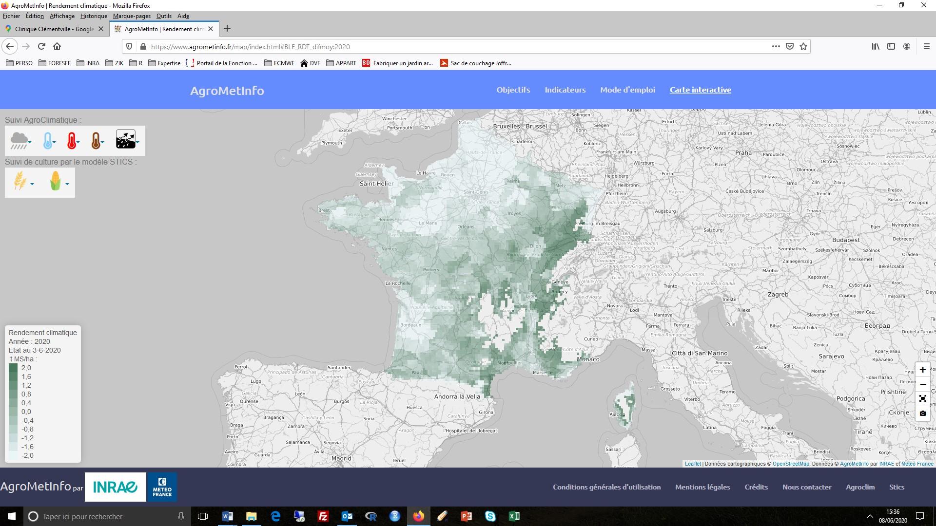 Carte anomalie rendement climatique du blé juin 2020