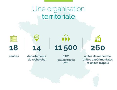 Organisation  INRAE en France : 18 centres 14 départements 11500 ETP 260 unités de recherches