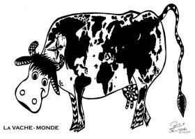 Dessin réalisé au crayon bis noir représentant une vache dont les taches noires constituent une mappemonde