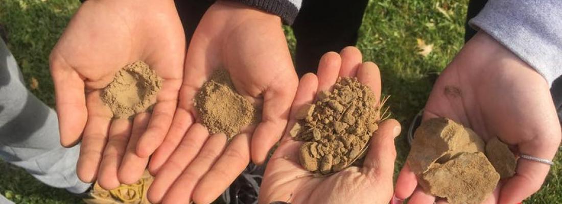 Évaluation de la composition d'un sol, tamisage des fragments et particules