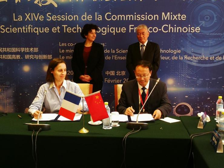 Signing of the agreements of two LIAs on the occasion of the Franco-Chinese Joint Commission for Science and Technology, in Beijing on 25 February 2019, in the presence of the Minister of Higher Education, Research and Innovation, Frédérique VIDAL, INRA, represented by Ségolène HALLEY des FONTAINES, International Delegate.