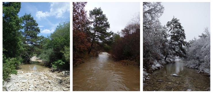 Le Calavon, affluent de la Durance, région Provence-Alpes-Côte-d'Azur, lors de différentes phases d'écoulement