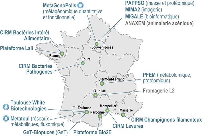 Carte de France localisation des infrastrucutres du département MICA