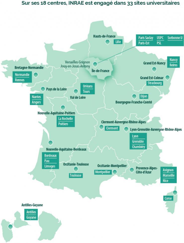 Carte centres et sites