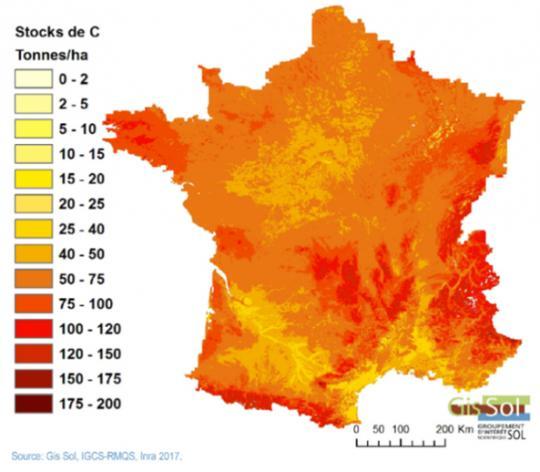 Stock de carbone dans les sols de France, 2007