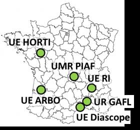 carte montrant les 5 sites de vergers à INRAE en France