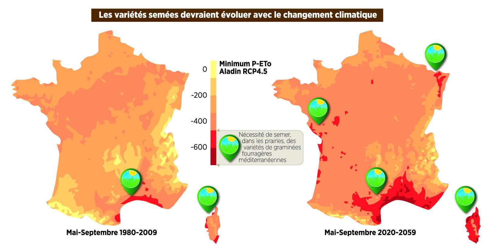 Projet CLIMAGIE cartes déficit hydrique prairies