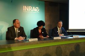 Lancement d'INRAE : Philippe Mauguin, PDG, accueille les Ministres de tutelle : Didier Guillaume et Frédérique Vidal