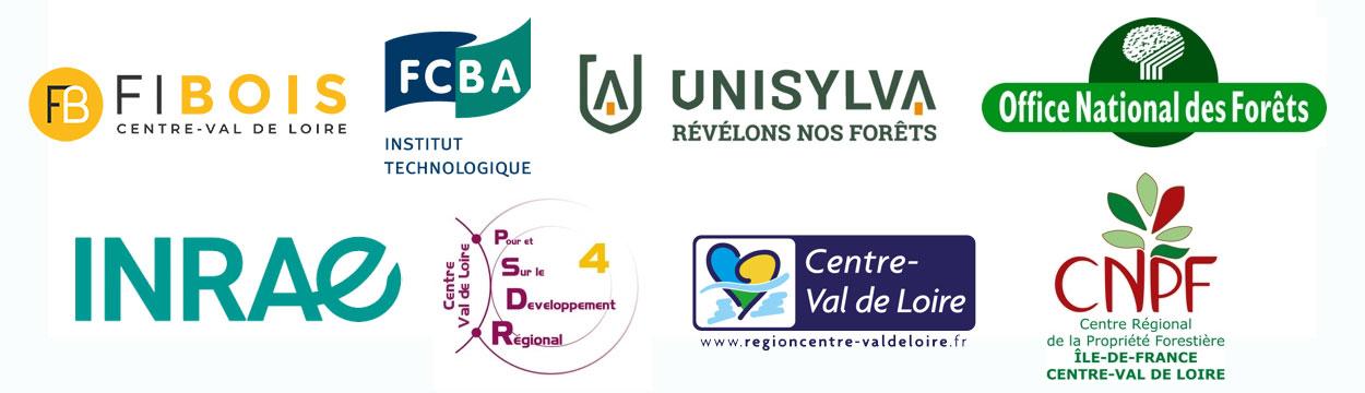 Partenaires du projet Défiforbois : FiBois, FCBA, UniSylva, ONF, INRAE, PSDR4, Région Centre Val de Loire, CNPF