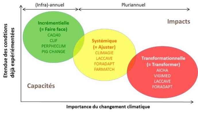 Schéma : différents niveaux d'adaptation au changement climatique