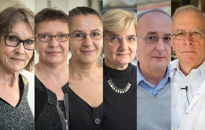 From left to right: Hortense Brun, Régine Delourme, Marie-Hélène Balesdent, Françoise Budar, Michel Renard, Georges Pelletier