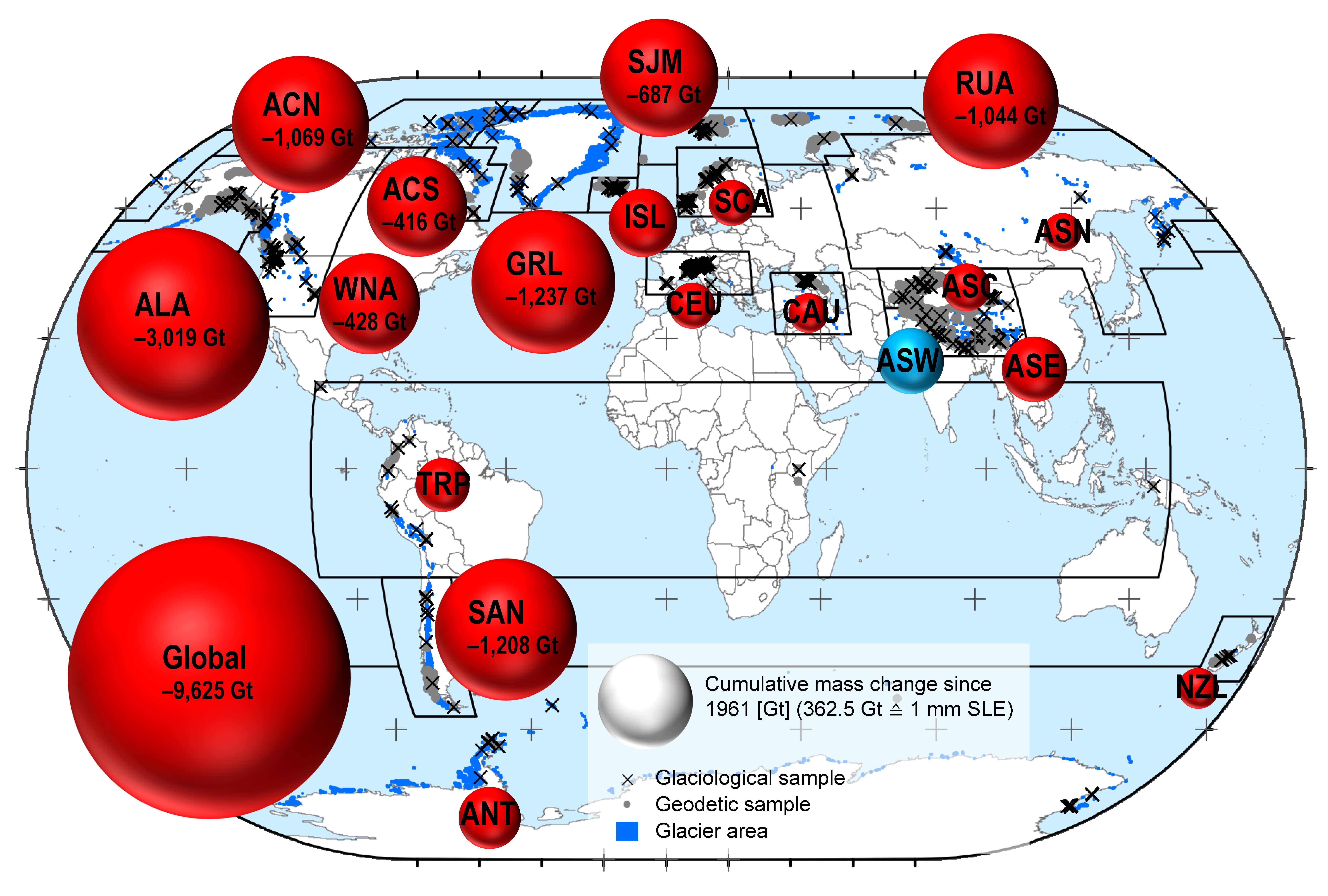 Carte mondiale montrant la contribution des glaciers dans l'élévation du niveau de la mer