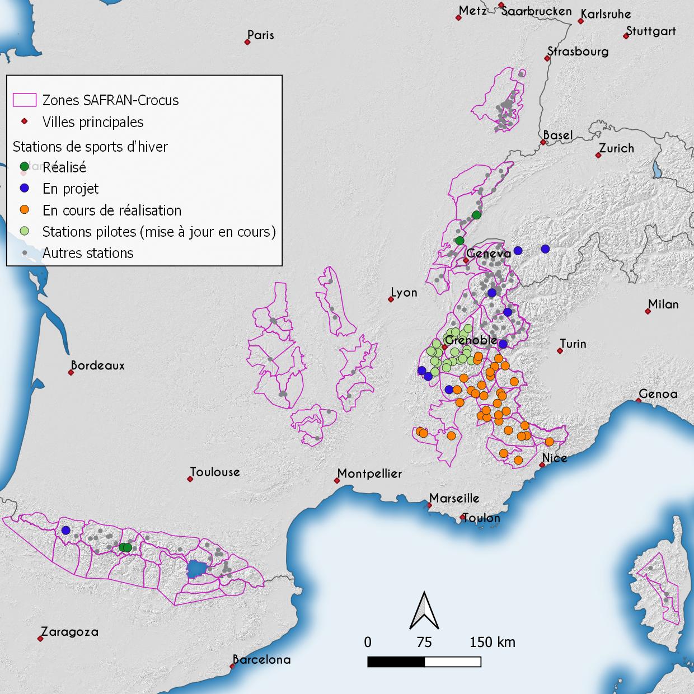 Cartographie de l'indice de fiabilité d'enneigment dans les Alpes françaises